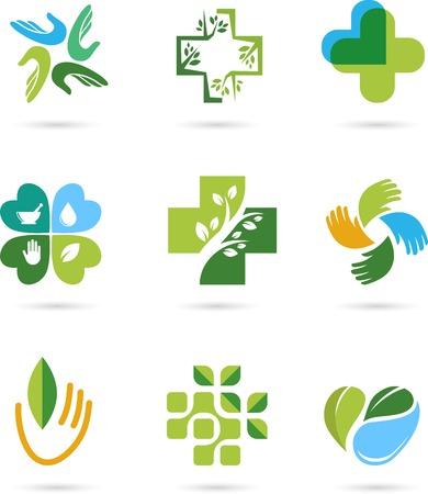 治癒: 自然な代替ハーブ医学・医療のアイコンおよび要素の設定  イラスト・ベクター素材