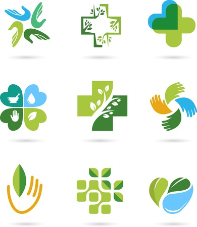 wellness: Natural Alternative Herbal Medicine and Healthcare icons and element set Illustration