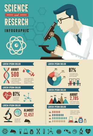 scientist: Research, Bio Technology and Science, Chemical laboratory infographic Illustration