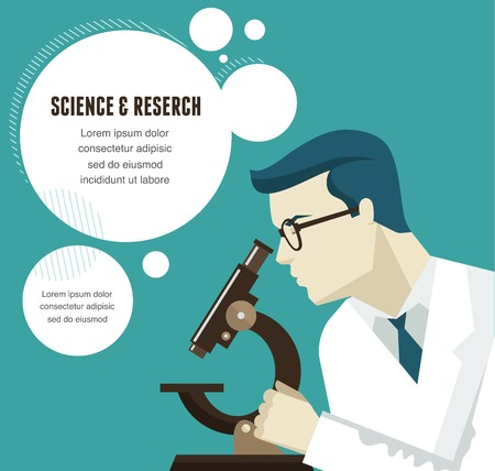 bacteria microscope: Research, Bio Technology and Science, Chemical laboratory infographic Illustration