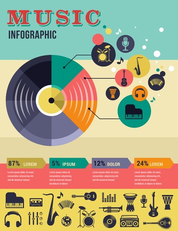 jazz dance: Music infographic and icon set of instruments and data, graphs, text Stock Photo