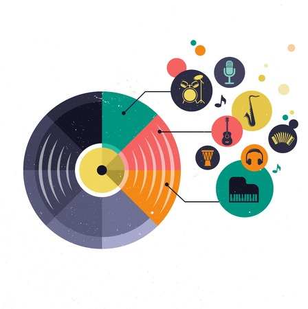 Music infographic and icon set of instruments and data, graphs, text photo