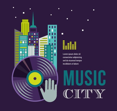 Music and night life of city, homes, building landscape infographic and background photo