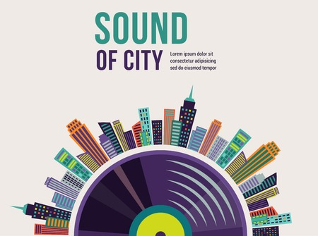 new age music: Music and city landscape infographic and background