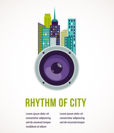 new age music: Music and city - amplifier and buildings landscape background