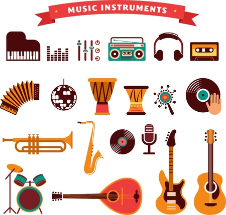 jazz drums: musical instruments, illustrations flat icons and elements set