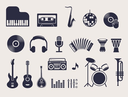 new age music: musical instruments, illustrations flat icons and elements set