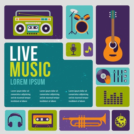 new age music: Music infographic and icon set of instruments and data, graphs, text Illustration