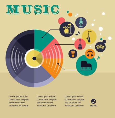 Music infographic and icon set of instruments and data, graphs, text Vector