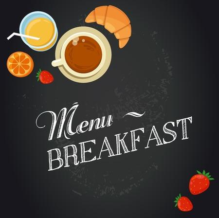 great coffee: Breakfast menu drawing with chalk on blackboard