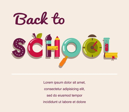 first day: Back to school - text with icons  Vector concept background Illustration