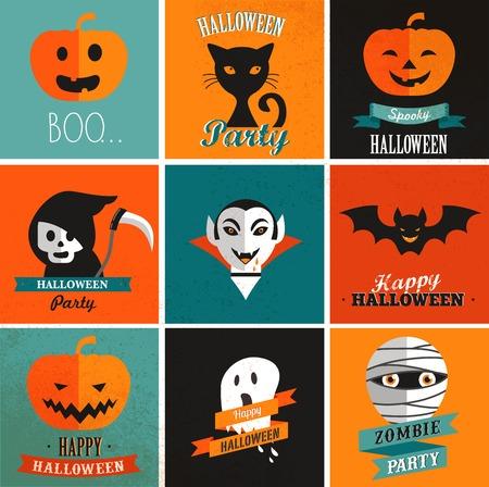 citrouille halloween: Halloween mignon ensemble d'ic�nes Illustration