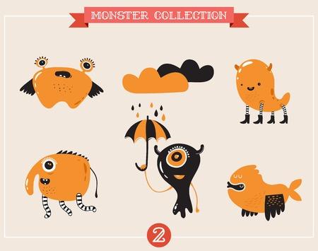 alien clipart: cute monsters, set of vector illustrations