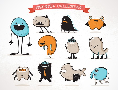 abomination: cute monsters, set of vector illustrations
