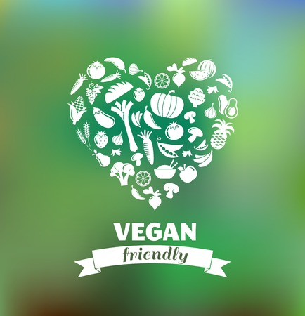 organic background: vegetarian and vegan, healthy organic background Illustration