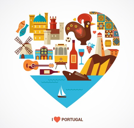 Portugal love - heart with vector icons