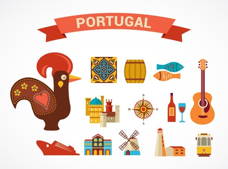 tramway: Portugal - set of vector icons