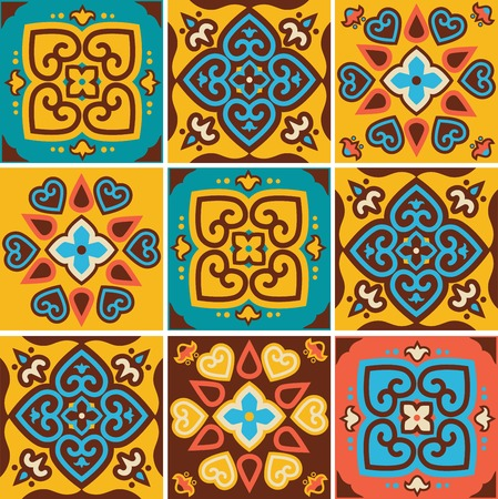 fabric painting: Traditional ceramic tiles patterns  Illustration