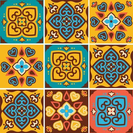 Traditional ceramic tiles patterns  Illustration