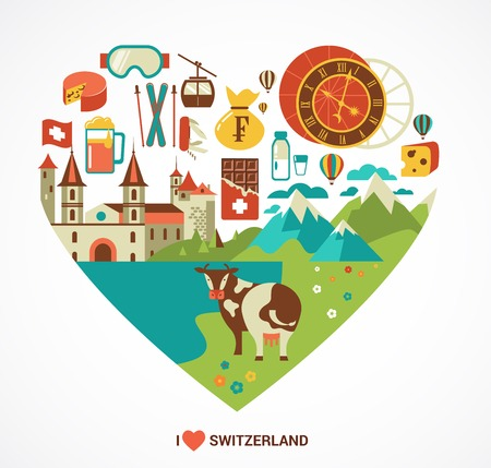 swiss culture: Switzerland love - heart with vector icons Illustration