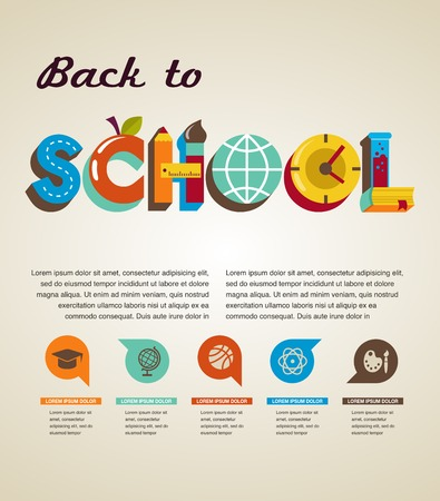 classroom supplies: Back to school - text with icons  Vector concept Illustration