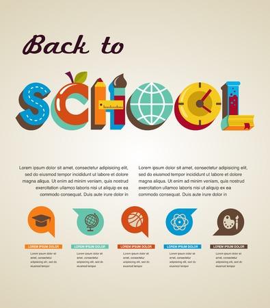 utiles escolares: Volver a la escuela - texto con iconos concepto vectorial