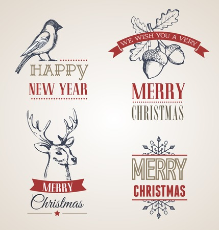 hollies: Christmas vintage concept with typography and ribbons Illustration