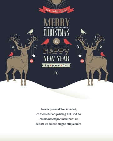 hollies: Christmas vintage greeting card, retro concept with deers