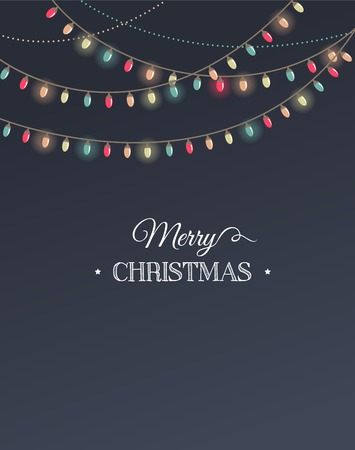 Vintage Christmas design with garlands Vector