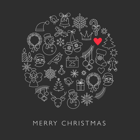 Christmas ball - black and white line icons Vector