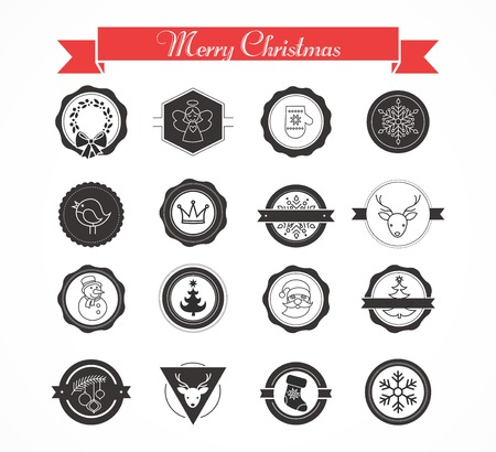 Set of labels, designs and elements for Christmas Vector