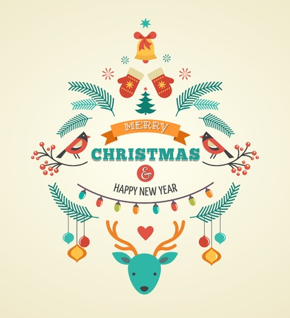 stoke: Christmas design with birds, elements and deer