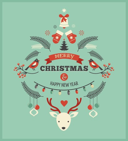 Christmas design with birds, elements and deer Vector