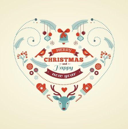 stoke: Christmas design heart with birds and deer Illustration