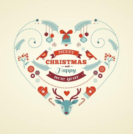 deer in heart: Christmas design heart with birds and deer Illustration