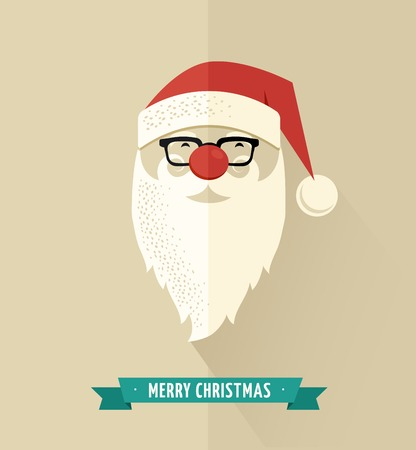 Christmas design with Hipster Santa Vector