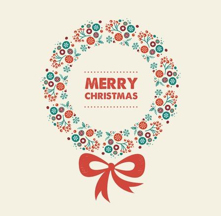 guirnaldas de navidad: Diseño coronas de Navidad feliz con el texto