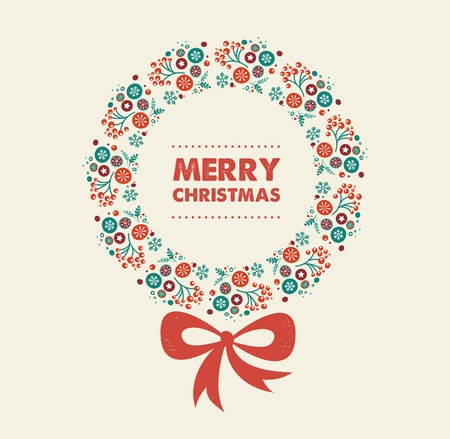 Merry Christmas wreaths design with text