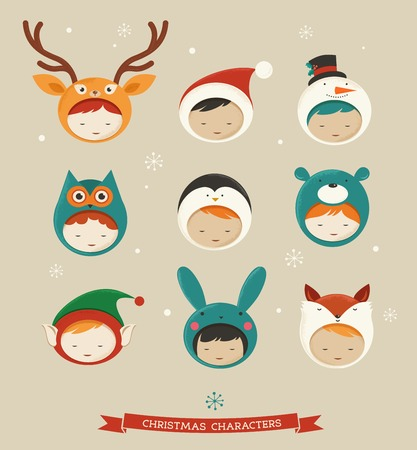 Christmas kids icons - deer, bear, fox Vector