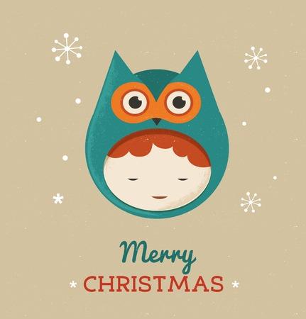 Christmas cute design card with girl owl Vector