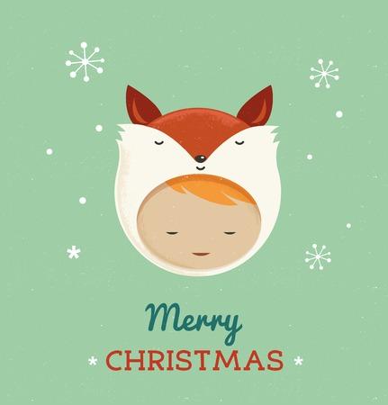 Christmas cute design card with girl fox Vector
