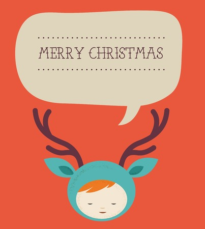Christmas cute girl deer with speech bubble Vector