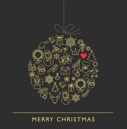 stoke: Christmas ball - black and white line icons