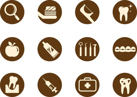 oral care: Dental and teeth care icon set