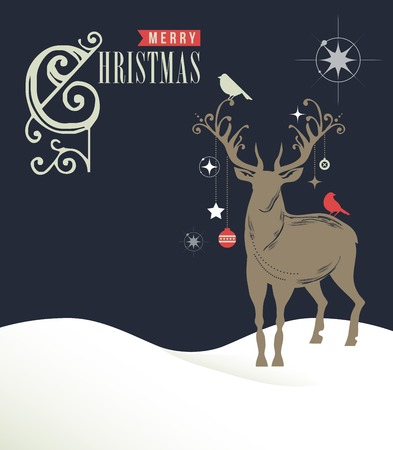 hollies: Christmas greeting card, concept with deers