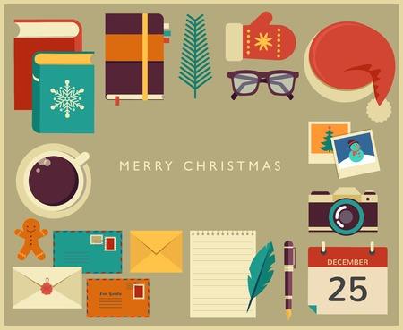 Christmas Santas desktop flat vector design Vector