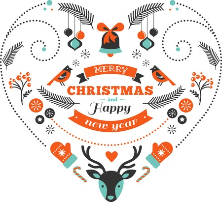 stoke: Christmas design heart with birds and elements