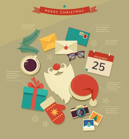 Christmas desktop flat icons design, infographic Vector