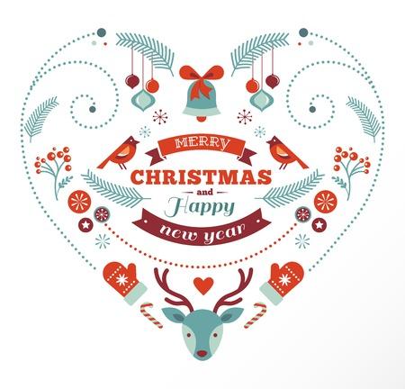 Christmas design heart with birds and deer Vector
