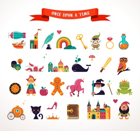 fairy cartoon: Collection of fairy tale elements, icons